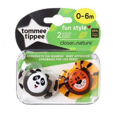 Tommee Tippee пустышки ортодонтические fun style, 0-6 мес., 2 шт